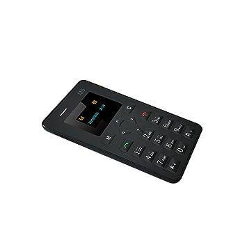 UKCOCO M5 mini tarjeta de teléfono celular Pocket teléfono móvil de baja radiación celular para estudiantes y niños 128M GSM (Negro)