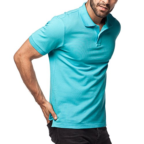 Green Knit Polo - LAPASA Polo Shirt for Men, 100% Cotton, Piqué Knitted Fabric (No Jersey). Longer Back-Hem, Short Sleeve M19
