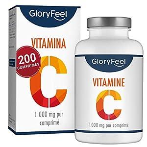 Vitamine C 1000 mg – 200 Comprimés Végétaliens (7 Mois) – Vitamin C Concentré Pour le Système Immunitaire – Vit C Végan…
