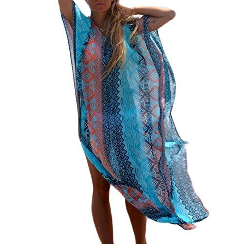 Frauen Mode V-Ausschnitt Kurzarm Fledermausärmel Chiffon Print National Wind Loose Beiläufige Lang Kleider Beachwear Freizeitkleid Chiffonkleid Strandkleider Druckkleider