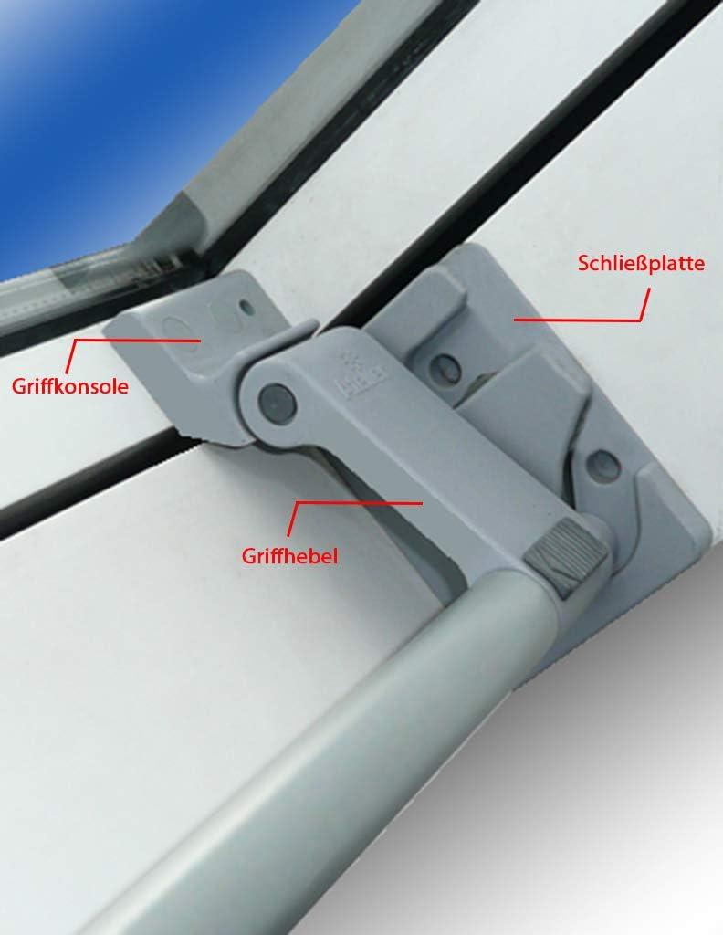 Ersatzteil Braas Atelier Dachfenster Set Griffhebel.Konsole Schliessplatte grau