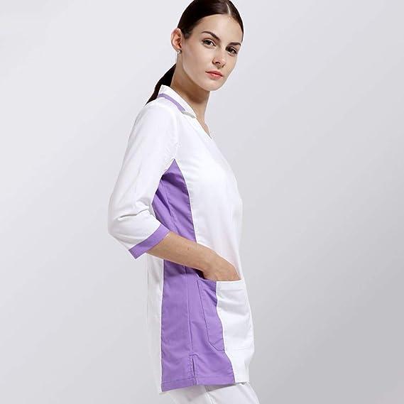 OPPP Ropa médica Conjunto de Uniformes hospitalarios para Mujeres y Hombres Ropa médica Blanca Uniforme de Manga Corta Cuidado Diseño Uniforme Que Incluye ...
