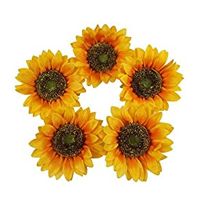 "Colorfulife Artificial Silk 5.5"" Big Sunflower Flower Head for Wedding Home Party Decoration Hair Clip Wreath Decorative 18"