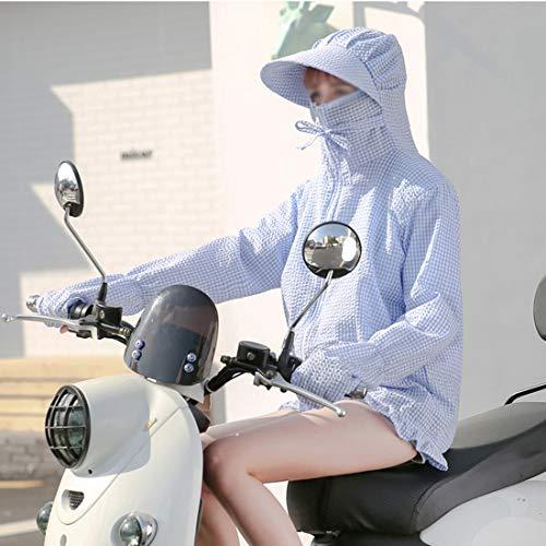 日焼け止め服 レディース  薄手 透け感 ゆったり 紫外線防止 防撥水 戸外 長袖 パーカー 上着 (Color : ブルー)