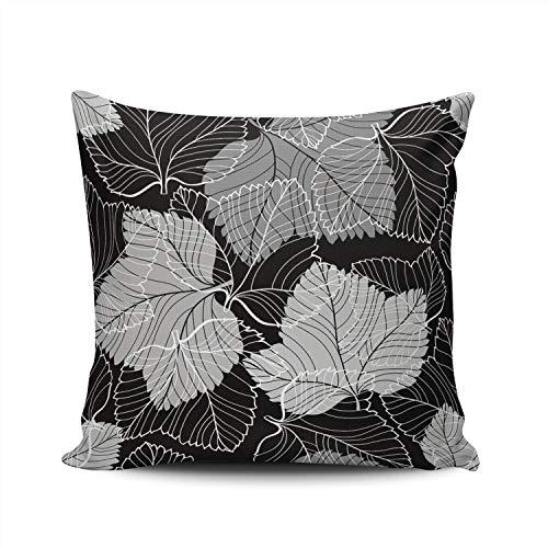 SALLEING Custom Fashion Home Decor Pillowcase Monochrome Foliage on Black European Throw Pillow Cover Cushion Case 26x26 Inches Double Sided Print (Leaf Fall Outline)