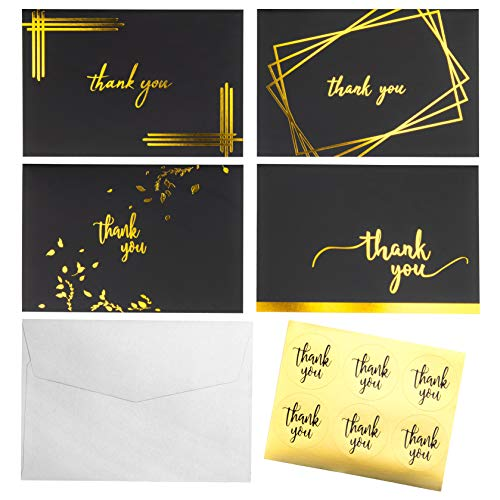 Thank You Cards Bulk - 100 Blank Greeting Card Thank You Notes with Envelopes and Stickers - for Baby & Bridal Shower, Wedding, Birthday, Graduation, Business - 4x6 Photo Size Matte Black & Gold Foil