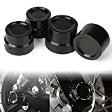 CNC Black Front Rear Axle Nut Cover Axle Caps Bolu For Harley 883 1200 XL Dyna Fatboy Street Bob Super Glide V-Rod Softai(Pack 4)