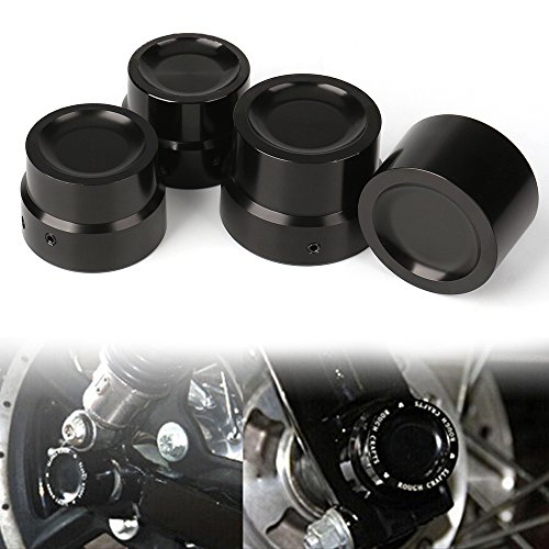 Axle Cap Rear Billet (CNC Black Front Rear Axle Nut Cover Axle Caps Bolu For Harley 883 1200 XL Dyna Fatboy Street Bob Super Glide V-Rod Softai(Pack 4))