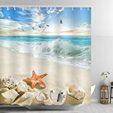 ABxinyoule Starfish Beach Conch Waves Shower Curtain Ankle Stone Blue Fabric Polyester Waterproof