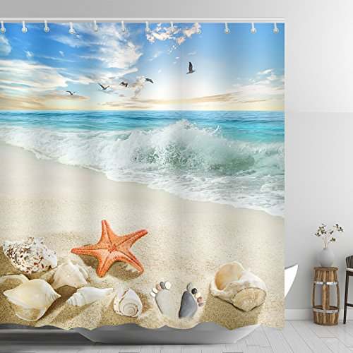 ABxinyoule Starfish Beach Conch Waves Shower Curtain Ankle Stone Blue Fabric Polyester Waterproof by ABxinyoule