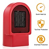 Allon Small Space Heater with Tip-Over & Overheat Protection, Mini Size Quick Heat-up Personal Ceramic Heater, 500-Watt Portable Electric Heater Ideal for the Desk, Office & Small Room, Red