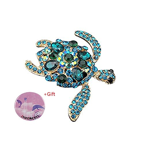 Blue Austrian Crystal Rhinestone (Silvercell Turtles Brooch Pins Light Blue Austrian Rhinestone Crystal)