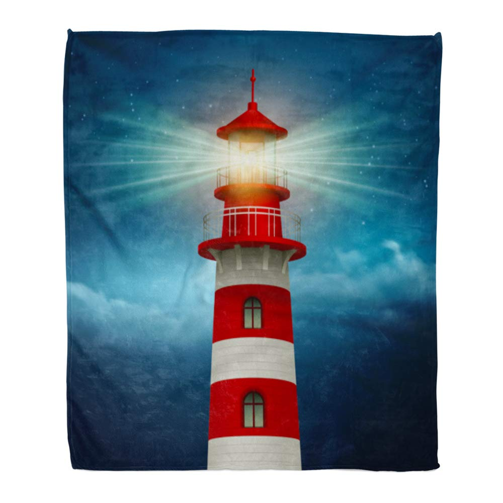 Multi 14 60  W x 80  L Emvency Throw Blanket Warm Cozy Print Flannel Baby for Nautical bluee Red Anchors Pattern Birthday Bright Digital Happy High Comfortable Soft for Bed Sofa and Couch 60x80 Inches