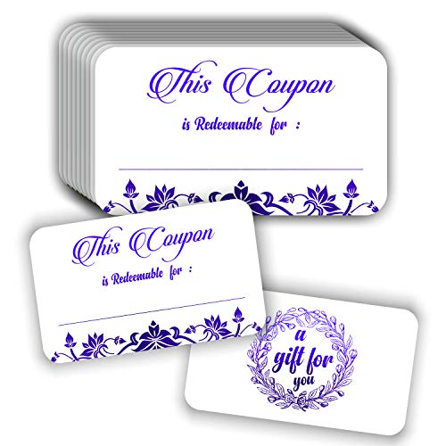 Coupon Cards (Pack of 50) Premium Purple Foil Stamping 3.5