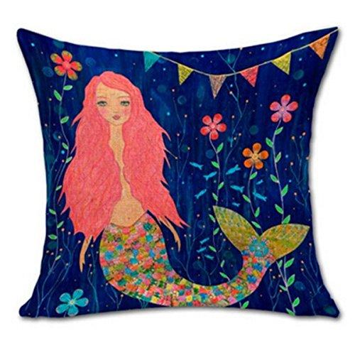 Painting Flower Cushion Decorative Mermaid