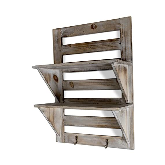 """Besti Rustic Wall Shelves w/Hanging Hooks - Dual Shelving Wall-Mounted Organizer - 2 Tier Storage Rack Brown - Cute Rustic Organizers - Home Decorative Furniture - Farmhouse Wall Shelving - Crafted with natural wood, our shelves feature two shelf levels for displaying pictures, small flower pots, bedroom decor, or cute decorations. Rustic, Vintage Home Style - Ideal for decorating your living room, kitchen, bathroom, or personal space, they match your other furniture or furniture perfectly. Natural Wood Craftsmanship - This wooden wall-mounted organizer is made with high-quality wood, wide shelves, and is an easy-to-hang size at 17.5"""" x 12.5"""" x 5.5"""". - wall-shelves, living-room-furniture, living-room - 51ymFAiuWFL. SS570  -"""