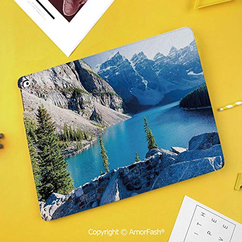 (Printed Case for Samsung Galaxy Tab S4 Corner Protection Premium Vegan Leather Stand Cover,Nature,Moraine Lake Banff National Park Canada Mountains Pines Valley of The Ten Peaks,Blue Green Grey)