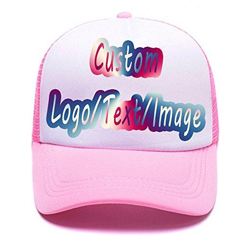 Custom Unisex Baseball Cap Personalized Gifts Dad Hat Trucker Hats Sun Helmet Plain Blank Cap (Trucker Pink, One Size)