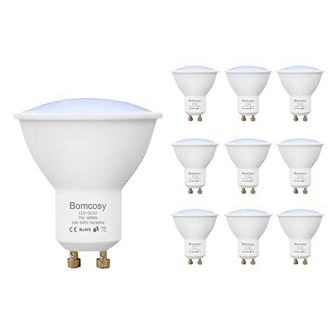 Bomcosy Pack de 10 Bombillas LED GU10 7W, Equivalente a 60Watt Halogenos Lámpara Incandescente, Luz Blanco Frio 6000K, 600 Lumens, No Regulable