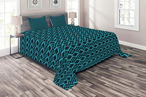 Lunarable Abstract Coverlet, Repetitive Geometric Pattern Childish Game Road Look, 3 Piece Decorative Quilted Bedspread Set with 2 Pillow Shams,Queen Size, Dark Violet Blue Teal Sea Blue and White