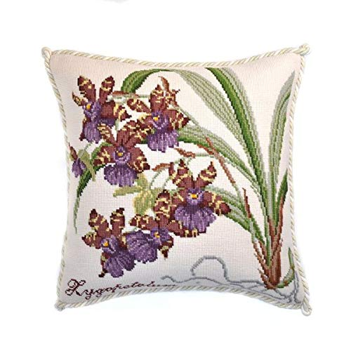 Zygopetalum Needlepoint Tapestry Kit with Winter White Background from Elizabeth Bradley Premium English Needlework Pillow or Rug Project with 100% Wool Yarns from The Exotics Collection - Orchid Needlepoint Pillow