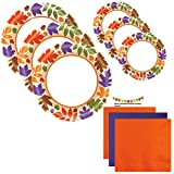 Paper Plates Fall Leaves Thanksgiving Party Supplies Set Holiday Kit Premium Disposable Dinnerware Set Dinner Paper Plates Dessert Plates Napkins Recipe Pack Serves 40 (125 Pieces) Easy & Fun