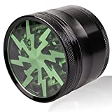 Herb - Tobacco Grinder with Pollen Catcher and two Scrapers – Green Lightning - 4 Layer - 2 1/2'' x 1 7/8'' Premium Grade Aluminum Body