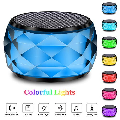 LED Bluetooth Speaker,LFS Night Light Wireless Speaker, Diamond Shape Portable Wireless Bluetooth Speaker,Multi-Colored auto-Changing RGB LED Themes,Hands-Free/Phone/PC/Micro SD/AUX-in/TWS Supporte
