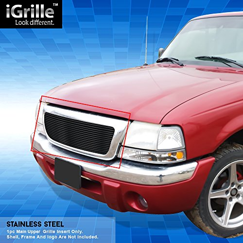 Black Stainless Steel eGrille Billet Grille Grill For 98-00 Ford Ranger Insert