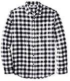 Amazon Essentials Men's Long-Sleeve Plaid Flannel Shirt, Black Buffalo Plaid, Medium