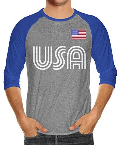 Raglan T-shirt Blue Royal Heather (SpiritForged Apparel United States Soccer Jersey Unisex 3/4 Raglan Shirt, Royal/Heather Medium)
