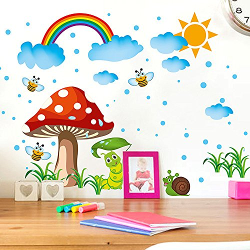 Boodecal Raining Sky with A Rainbow Wall Stickers Grasses Mushroom Snail Bees Clouds Sun Wall Decals Kids and Children Room Nursery Wall Decals Home Decor Murals 16″ 14″
