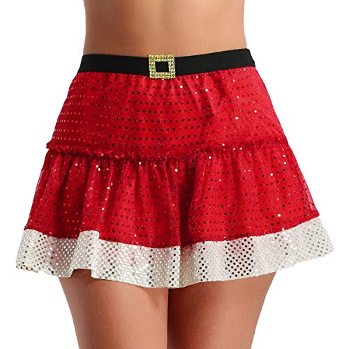 TiaoBug Women's Santa Claus Red Shiny Sequins Short Skirt Fancy Tutu Skirt Red Small