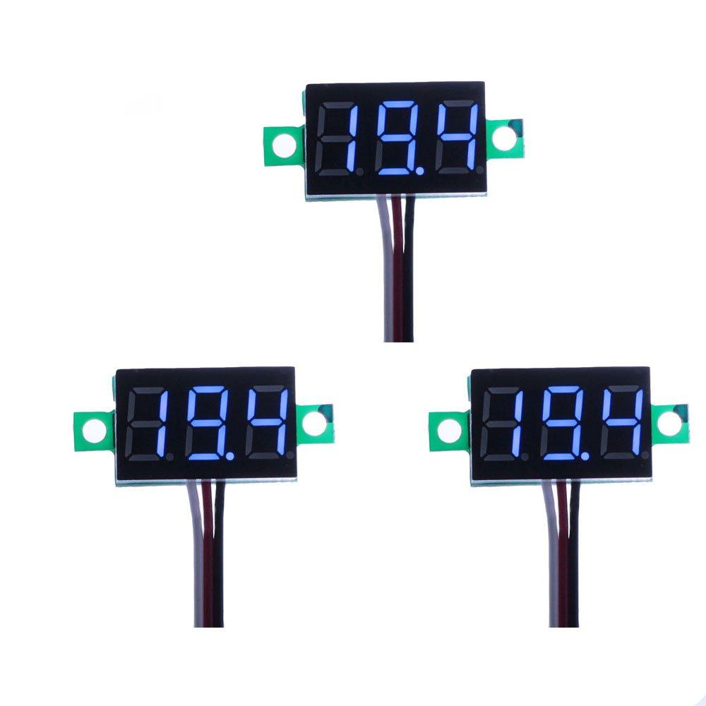 ELENKER Lot de 3 mini voltmètres numériques / indicateurs à LED, 3 câbles, plage de mesure 0-100 V DC, entrée 5 V - 30 V DC bleu 3 câbles entrée 5 V - 30 V DC bleu