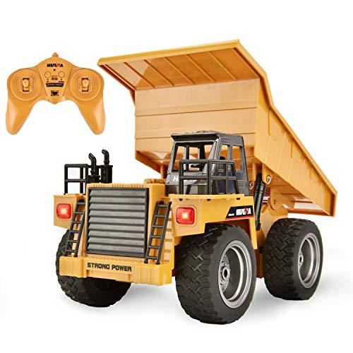 Yuboa Remote Control Truck RC Dump Trucks Toy,Remote Control Dump Truck Diecast 1:18 6CH Alloy Construction Vehicle RC Truck Xmas Gift for Kid Boys Yellow