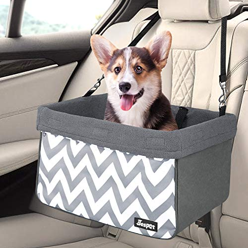 - JESPET Dog Booster Seats for Cars, Portable Dog Car Seat Travel Carrier with Seat Belt for 24lbs Pets