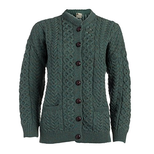 Boyne Valley Knitwear Ladies Merino Wool Lumber Cardigan Sweater (XX-Large)