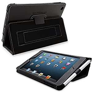 Snugg iPad Mini & Mini 2 Case - Leather Smart Cover with Kick Stand (Black) for Apple iPad Mini With Retina