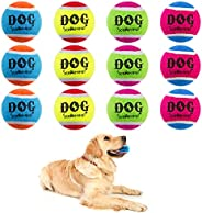 SCENEREAL Squeaky Tennis Balls for Dogs- 12 Pack High Quaility Dog Playing Tennis Resistance to Bite Durable P