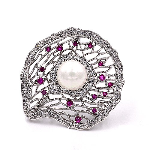 DREAMLANDSALES Elegant Micro Pave Mother of Pearl Domed Filigree Oyster Shell Brooches Silver Tone