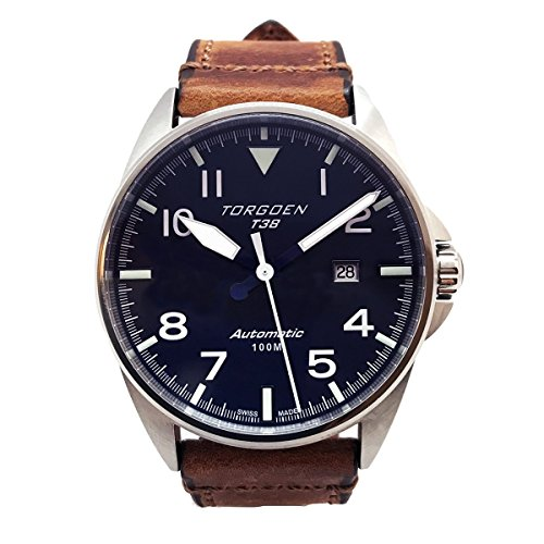 Torgoen T38 Blue Swiss Made Automatic Watch | 44mm - Vintage Leather Strap | Sapphire Crystal
