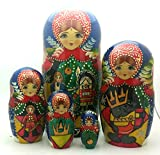 Nutcracker fairy tale Russian Hand Carved Hand Painted Nesting 5 piece DOLL Set 7'' tall / ballet