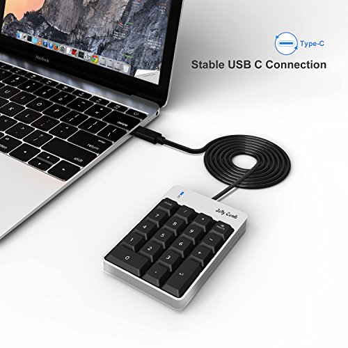 Jelly Comb Numeric Keypad for MacBook, Type C Number Pad, Portable Mini Wired 18-Key USB C Number Pad for Mac, Mac Pro, MacBook, MacBook Pro 2016/2017, iMac, iMac Pro by Jelly Comb (Image #1)