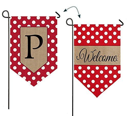 - Evergreen Enterprises 14B3477PFB Polka-Dot Welcome Monogram Garden Flag Letter: P