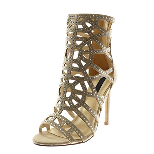 Stiletto Beige Stivaletti Sandali Angkorly Open Stiletto 11 Cm High Moda Donna Strass Heel Scarpe OkX80wnP