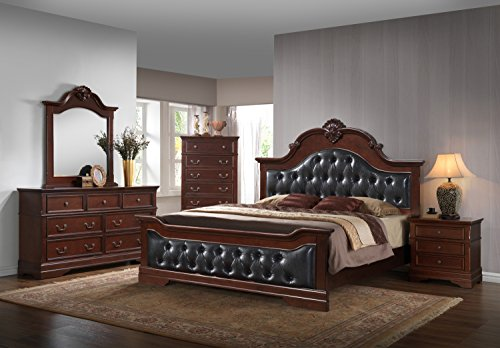 Kings Brand Antique Brown Queen Size Upholstered Bed Bedroom Set. Bed, Dresser, Mirror & Night Stands ()