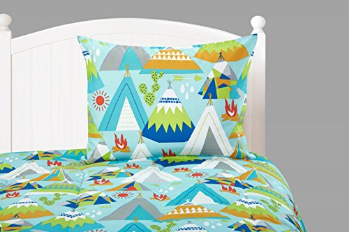 7 Piece Kids Boys Blue Green Camping Comforter Set Full Sized, White Red Picnic Bedding Outdoor Camp Bed in Bag Tents Trees Firewood Arrow Sunny Day Wilderness Forest Jungle Adventure, Polyester by Ln (Image #2)