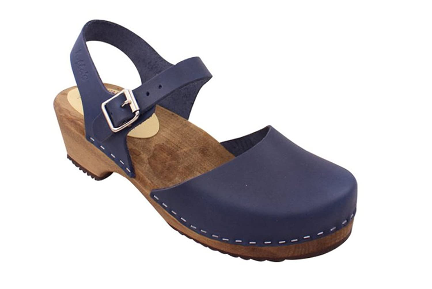 Lotta From Stockholm Swedish Clogs Low Wood In Navy On A Brown Base by Lotta From Stockholm