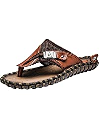 PPXID Men's Leather Flip-Flop Arch Support Thongs Comfort Slippers for Beach(Big Size Available)
