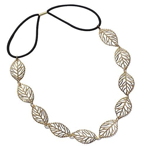 HITOP Retro Damen Griechisch süß elegant Goldene Blätter Hohl raffiniert Headwrap Stirnband Haarreif Haarband Hochzeit Stirnschmuck